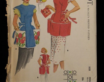 Milnot Apron Pattern with pockets, one size, complete 1950's