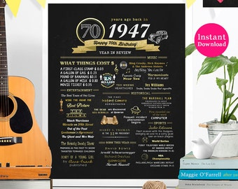 INSTANT DOWNLOAD // 70th Birthday Poster Printable Wall Art // Gold 1947 Events and Stats #1052017C