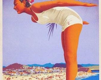 Vintage Coolangatta Queensland Australia Tourism Poster A3 Print