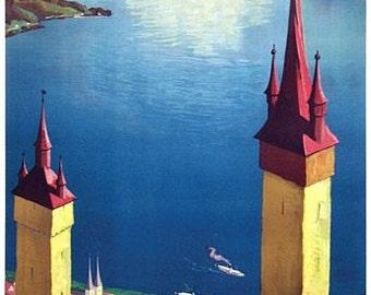 Vintage Lucerne Switzerland Tourism Poster A3 Print