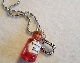 Vampyre Blood charm, Vampire Blood, Sacred Blood, Vampire Blood Charm on Chain