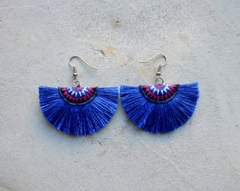 Small Navy Blue Hmong Embroidery Tassel Earrings