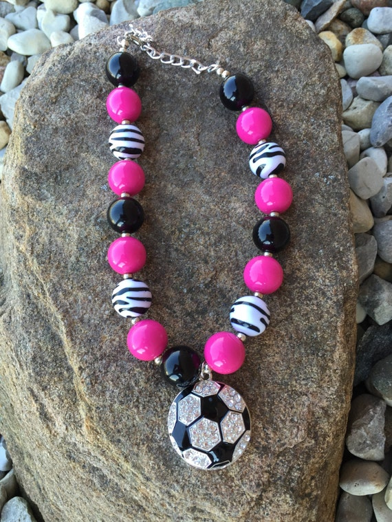 Soccer mom necklace, rhinestone soccer, black and pink soccer necklace, school spirit, soccer jewelry, soccer team, bubblegum necklace