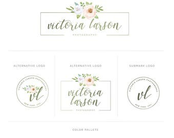 Branding Package, Photography Logo and Watermark Branding, Brand Kit, Watercolor Floral Logo, Signature Logo Design, Leaf Logo Design fl48