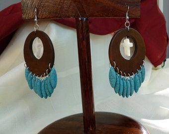 Brown/Turquoise Large Dangle Earrings