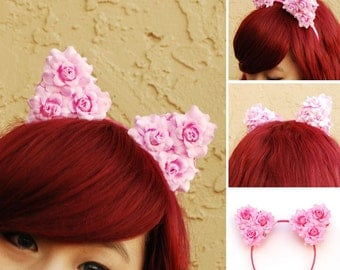 Floral Cat Ear Headband | Flower Kitty Ear Headband -- Pink Party