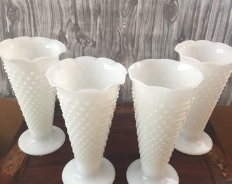 MILK GLASS HOBNAIL Vases four (4) count