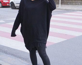 Flattering Asymmetric Dress Tunic, Black Lace Loose Oversized Dress Tunic, Party Dress Tunic, Clubwear, Alternative Top Tunic