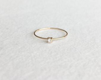 14K Gold Ring, White Diamond Ring, Yellow Gold, Solid Diamond Ring, 2.0mm White Diamond Ring