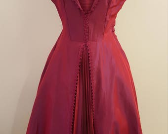 Beautiful HandmadeVintage 50's Red Satin Party Dress!  Gorgeous added pleat details!  36-28-44