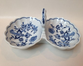 Vintage Blue Danube 2 Part Relish Bowl