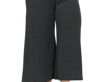 Elastic Waist Wide Leg Crop Culottes Pants Plus Size Charcoal