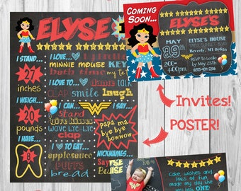 ONEder woman, Wonder Woman, ONE-der woman girl first birthday party invitations, milestone chalkboard poster, and thank you notes package.
