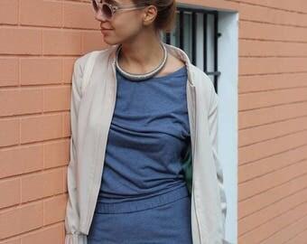 Womens bomber jacket. Spring bomber. Summer bomber. Beige silk bomber jacket
