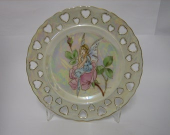 Hand Painted Fairy on a rose plate