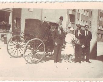 Vintage Photo - Wedding photo - Bride - Groom - Hackney carriage - Romantic photo - Vintage Snapshot - Polish Photo - 1945s photo