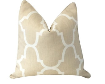 Beige Pillow, Windsor Smith, Kravet, Riad Dune, Geometric Pillow, White Pillow, Throw Pillow, Decorative Pillow, Sofa Pillow, Pillow Cover