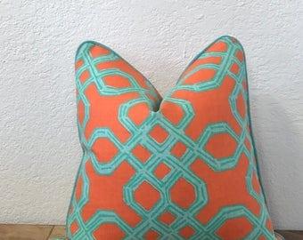 Orange Pillow, Lilly Pulitzer, Well Connected, Decorative Pillow, Aqua Pillow, Trellis Print Pillow, Throw Pillow, Sofa Pillow