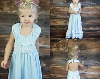 Girls Sky Blue Maxi Dress