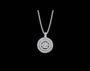 Double Halo Dancing Swarovski CZ Sterling Silver Pendant Necklace, Part of Dancing Crystal Collection