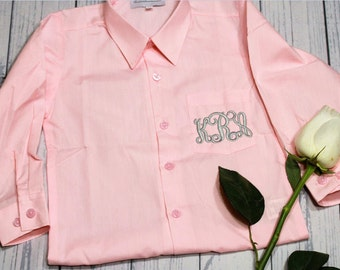 Child Infant button down oxford, Flower Girl Button Down, Ring Bearer Button down, Getting Ready Shirt Girls, Embroidered Oxford, colors