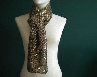 Long Gold/Black Fashion Scarf (Standard & Infinity)