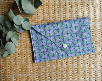 Pocket envelope Butterfly flow, butterflies, green, lilac, blue