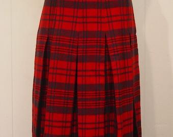 Vintage Skirt, plaid skirt, kilt skirt, 1950s skirt, small