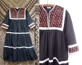 RESERVED>>>>>>>Indian cotton dress / Punsawari dress / 1970s indian gauze dress / bohemian indian dress / 70s vintage indian hippie dress