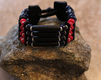 Real hand made Woman  Native American bracelet / cuff  Black leather , Red and blue cZech glass beads
