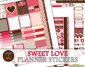 Valentines Printable Planner Stickers, Valentines Erin Condren Weekly Kit, Love Sticker Kit, February Sticker Erin Condren, ECLP Digital Kit