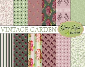 Vintage Digital Paper, Vintage Floral Digital Papers, Vintage Shabby Papers, Floral Patterns, Floral Backgrounds, Vintage Scrapbook Papers