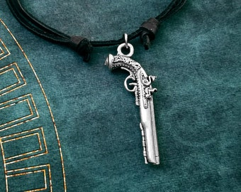 Pistol Necklace Pirate Gun Necklace Pirate Jewelry Gun Jewelry Weapon Leather Necklace Black Cord Necklace Men's Jewelry Boyfriend Necklace