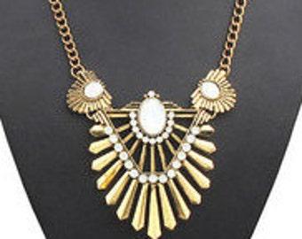 Golden Art Nouveau Statement Necklace