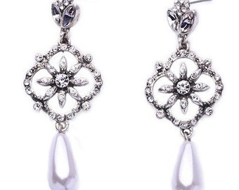Deluxe Floral Crystal & Pearl Chandelier Earrings EA6068n