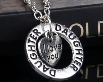"Silver Dual Pendant Daughter ""I Love You"" Necklace NK4055i"