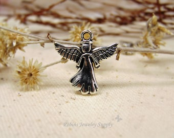 10 pcs - Antique Silver - Angel Charms - Jewelry Charms - Bracelet Charms - Antique Silver Charm - Jewelry Supplies - Angel Jewelry - C0026