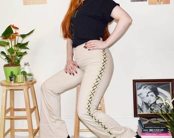 Vintage 90s does the 70s Boho Style Side Lace up Trousers in Beige UK10/12