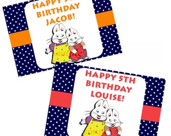 12 Sets of Personalized Max and Ruby Birthday Party Favor Bags with mini coloring pages and crayons