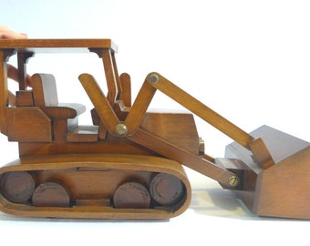 Wooden backhoe loader. Bulldozer. Wooden toys. Toys for children and collectionism. Vehicles. Collectionism. Gift for architects. Handmade