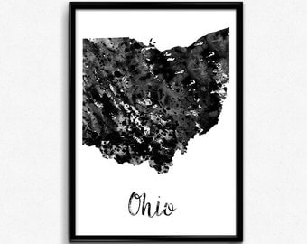 Map of Ohio, United States of America, Black and White Map, Travel, Watercolor, Room Decor, Poster, gift, Print, Wall Art (768)