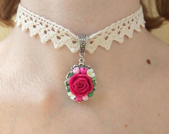 Choker gift Lace choker Vintage choker Her gifts Beige necklace Oval pendant Fuchsia Trend jewelry Fashion necklace Choker necklace