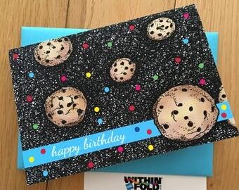 Flying Cookies Birthday Greeting Card, Cookies in Space, Happy Birthday!