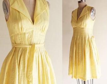 Vintage Maggy London  Sunshine Yellow Sleeveless Dress  Size 8