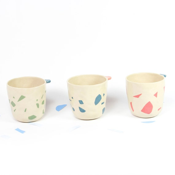 T S S E S - A - T H E / / ceramic cups rose to ear / in France / coffee drinking / white terrazzo sandstone / craft to offer