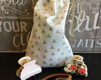 Gold Triangles Gift Bag, Fabric Gift Bags, Cotton Hand Bags, Handmade Gift Bags,