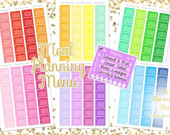Meal Planning Menu - Printable Planner Stickers - Instant Download
