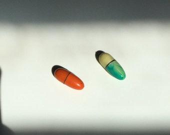 Vintage Orange Metal Enamel Pill Pendant Charm Locket Brass Gold Metal Opens Up Unique
