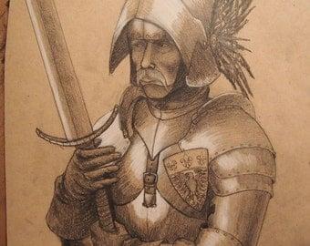 Old Knight, knight, medieval, fantasy, armor, armor study, figure study, fantasy art, original art