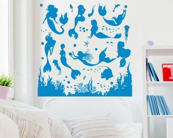 Mermaid Wall Decal Nymph Girl Tail Sea Animal Fish Ocean Vinyl Sticker Decals Bathroom Home Decor Bedroom Dorm Girls Nursery Room Kids NV175
